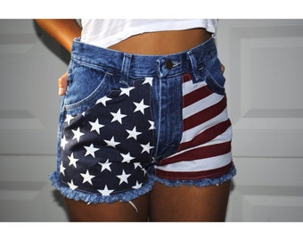 SALE  Highwaisted medium blue American flag july 4th denim shorts
