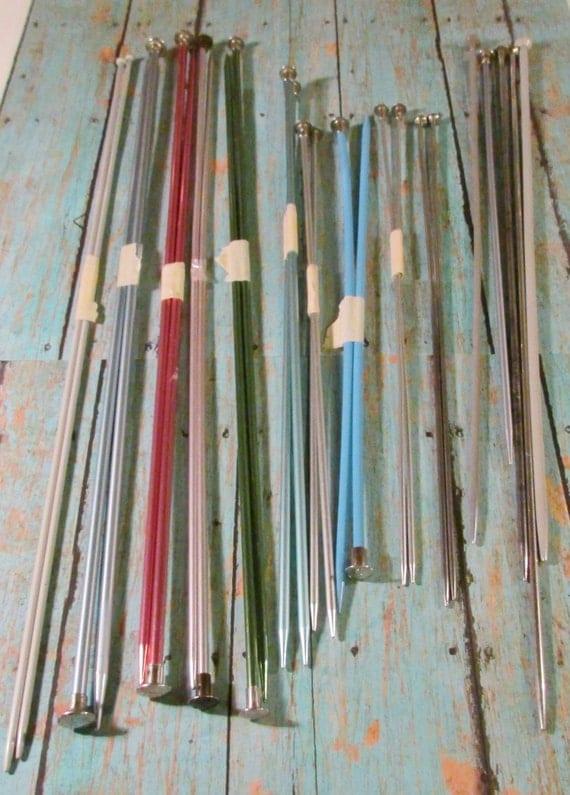 Vintage Knitting Needles : Vintage metal knitting needles various large sizes boye