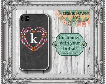 Personalized iPhone Case, Valentine Hearts Monogram iPhone Case, iPhone 4, iPhone 4s, iPhone 5, iPhone 5s, iPhone 5c, iphone 6, Phone Cover