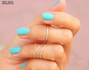 3 Midi Ring - Silver Ring - Knuckle Ring - Ring - Above Knuckle Rings - Midiring - Stacked RIngs - Set of 3  Stacking Rings