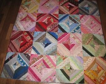 Rainbow strips - scrappy string quilt