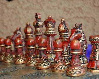 NEW***Ornate Staunton Chess set, Customisable colours (Pieces only)