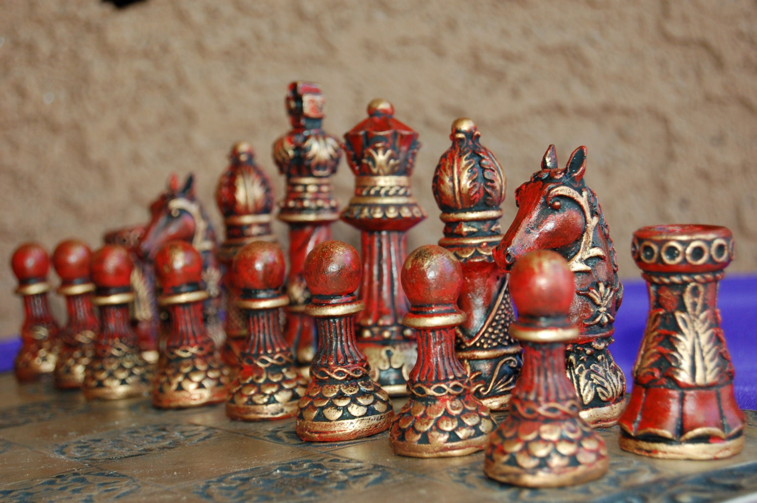 Ornate staunton chess set customisable colours pieces only - Ornate chess sets ...