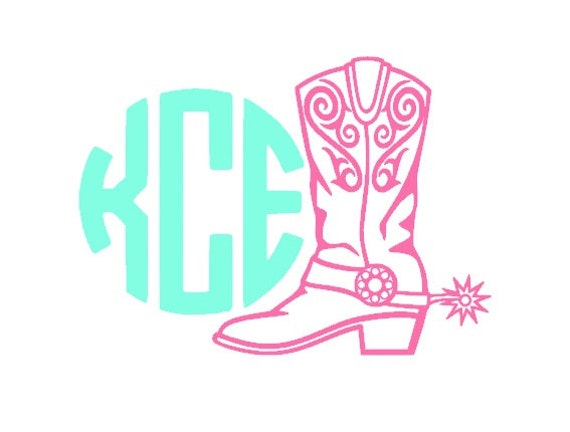 items similar to custom cowboy boot monogram car decal  country decal  hunting vinyl decal on etsy