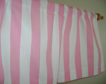 Pink/White Stripes Valance, Baby Pink Valance, White Valance, Girls Valance, Nursery Valance