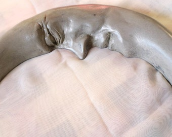 My Handmade Crescent Moon Sculpture in Cast Stone, Gift Idea, Garden Art, Very Celestial