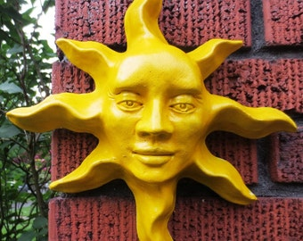 Handmade Yellow Sun Face Sculpture, Wall Art for Home, Garden, Patio, Gift, Collectible