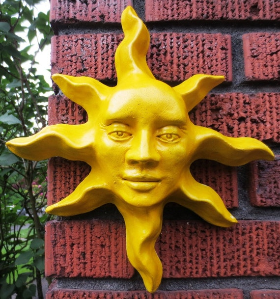 Handmade Yellow Sun Face Sculpture Wall Art for Home Garden