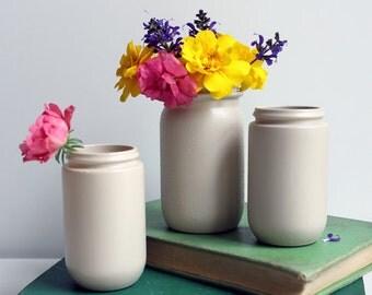 Set of Three Painted Taupe Vintage Jars