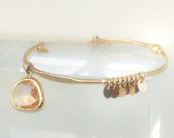 skinny Gold hammered Bangle with peach glass bezel pendant, bangles stack, bracelet stack, charm bracelet