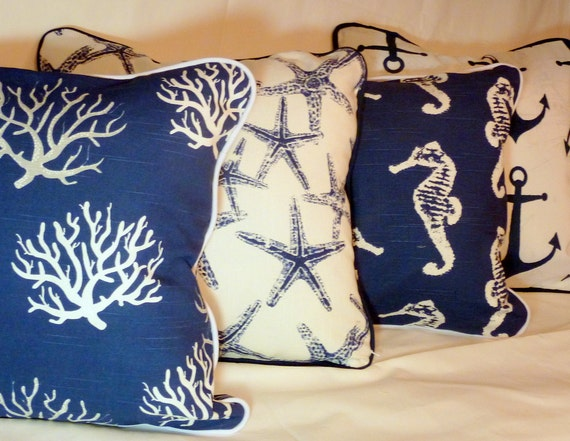 Nautical Pillow Covers Set Of 4 Navy Blue And White
