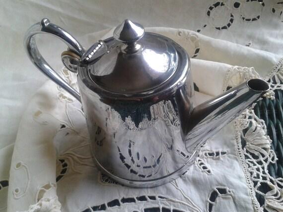 Art Nouveau 1900's Tea pot French Goldsmith Signed Morlot Polished Pewter Signed Marks Numbered #SophieLadyDeParis
