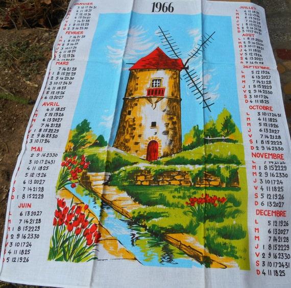 Windmill Dish Cloth Vintage French 1966 Calendar Kitchen Towel Unused White Cotton Dish Cloth #sophieladydeparis