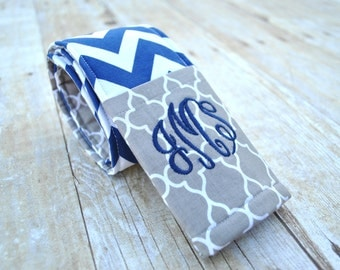 Monogrammed camera strap cover (Navy chevron/gray quatrefoil)