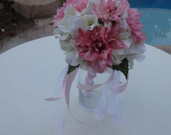 Flower girl wand in soft pink and white