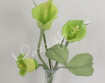 Wedding flower, bridal flower, paper flower,centerpieces, paper flower calla,centerpieces calla,bouquet paper.
