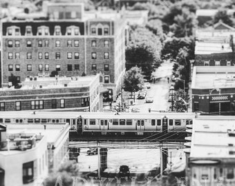 Chicago Photography, 'Uptown L in Black and White', Cityscape Photo, Fine Art Print, Chicago El, Urban Landscape, Wall Print, Home Decor,