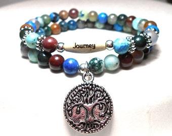 Journey Bracelet, Tree of Life Bracelet, Tree of Life Jewelry, Colorful  Gemstone Bracelet, Natural Beaded Bracelets, Boho Chic Bracelet