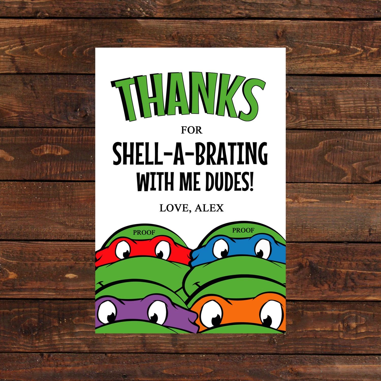 Teenage Mutant Ninja Turtle Thank you Card by LuLuPaperPrints