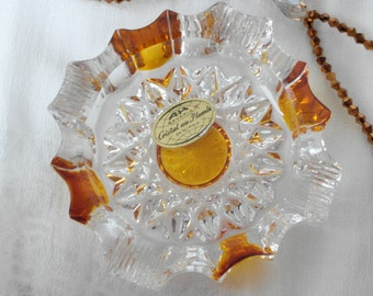 French lead Crystal Bowl Vintage ashtray 1950 crystal barware / yellow gold smoked glass / timeless gifts & more