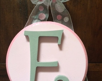 CUSTOM  -Round Hanging Wooden Wall Letters for Nursery or Child's Bedroom