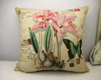 Linen pillow cover Throw Pillow Cover decorative pillow cushion cover butterfly pillow rose pillow double sides design