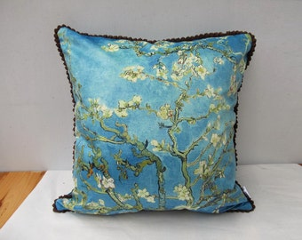 Decorative Velvet Pillow Cushion Cover Van Gogh Almond Tree Pillow With Brown Trim Blue Pillowcase