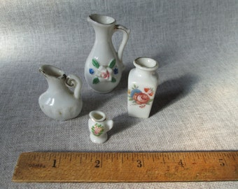 Miniature Ceramic Pitchers/Vases - MIJ - Dollhouse Minis in Ironstone, Porcelain - Set of Four