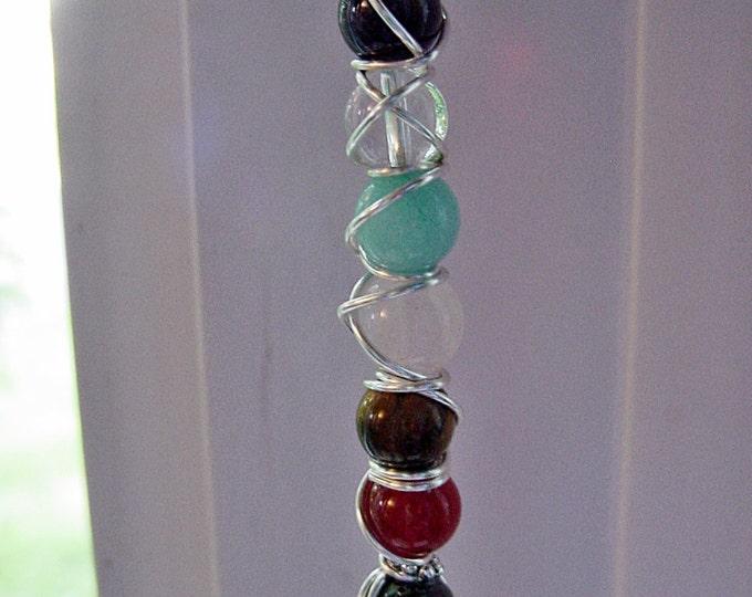7 Chakra Wand Pendant, Semi Precious Stones, Balance, Harmonize Energy Centers, Reiki Jewelry, Chakra Jewellery, FREE SHIPPING