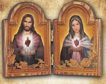 "Sacred Heart of Jesus and Immaculate Heart of Mary Diptych 9"" x 6.5""  Free Shipping"