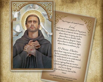 St. Francis of Assisi Holy Card or Wood Magnet  #0085