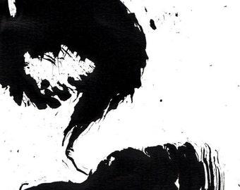 Original Abstract  Ink Drawing - Storm II - Ink dark on acid free paper