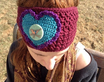 Crocheted Headband in Burgundy with Turquoise Heart-Birdie Button-Handmade-Headwrap