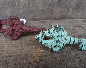 Skeleton Key Knob ~ Rustic Cast Iron Distressed Teal / Aqua or Red ~ Drawer Pulls ~Shabby Chic Decorative