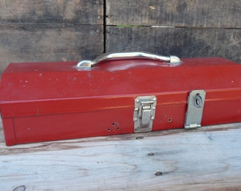Vintage Industrial Metal Steel Chest Tackle Tool Box ~ Red ~ supplies crafts