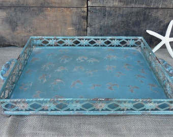 Distressed Vintage Inspired Patina Aqua Turquoise Metal Serving Tray ~ Home Decor Centerpiece Kitchen Shabby Chic Farmhouse