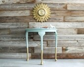 Gold Dipped Queen Anne Demilune Side Table Accent Entry Hall Table