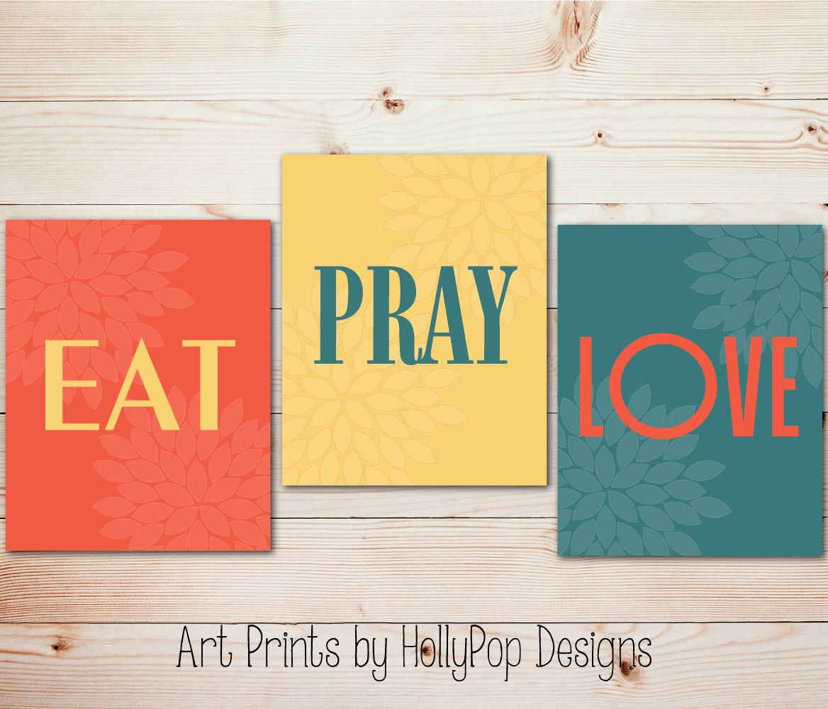 Modern Kitchen Wall Decor Eat Pray Love Trio By