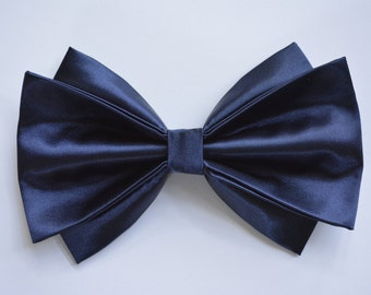Hair Bow-Navy Blue, Midnight Blue hair bow for women and teens, Big satin hair bow for weddings,special events,holidays, formal