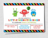 Boy Monster Birthday Invitation - Monster Theme Party - Digital Design or Printed Invitations - FREE SHIPPING