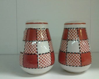 On Sale Pottery Checkerboard Red and White Salt and Pepper Shakers Made in Japan