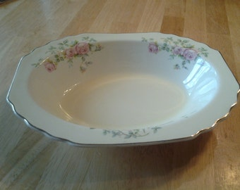 On Sale Vintage China W S George Canary Yellow Gold Rimmed Serving Bowl Pink Rose Lido Style