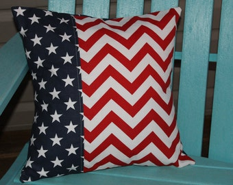 Patriotic chevron pillow cover