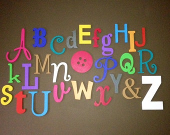 PAINTED Wooden Alphabet Set, MIxed,  Wood Wall Letters, ABC Wall, Alphabet Letters,  Nursery Decor , Baby shower, Gift