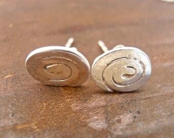 Rustic spiral sterling silver earrings, stud earrings, stud spiral earrings, custom made, hand made