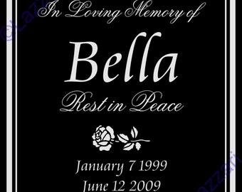 "Personalized Dog Cat Pet Memorial 12""x12"" Engraved Granite Grave Marker Plaque ""Bella"""