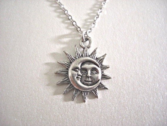 Silver Sun and Moon Pewter Charm Necklace Love & Friendship