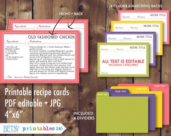 Printable recipe cards, 4x6 recipe cards, recipe card dividers, editable recipe cards, recipe card pdf, Instant Download- 285