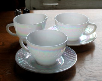 Vintage Iridescent Moonglow Pattern Cups, Saucers, Creamer by Federal Glass