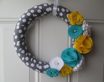 Polka Dot Wreath, Spring Wreath, Yellow Aqua and White Felt Flower Wreath, Flower Wreath, Door Wreath